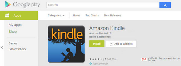 Search Kindle App on Google Play